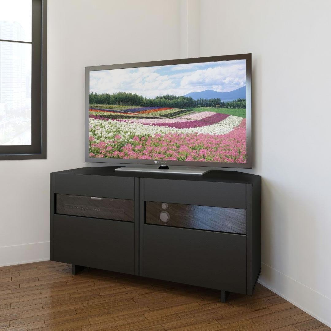 Nexera Vision 48 Inch Corner Tv Stand (black) – Disc Nx Within Contemporary Black Tv Stands Corner Glass Shelf (View 2 of 20)