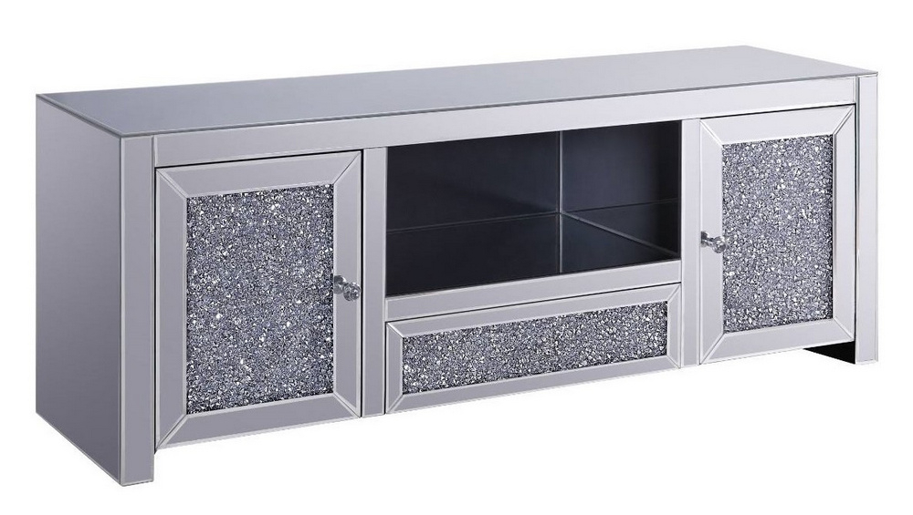 Noralie Mirrored Glass/faux Diamonds Tv Standacme Regarding Fitzgerald Mirrored Tv Stands (View 13 of 20)