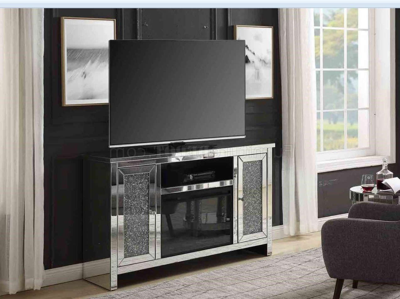 Noralie Tv Stand & Electric Fireplace 91775acme In Mirror For Fitzgerald Mirrored Tv Stands (View 16 of 20)
