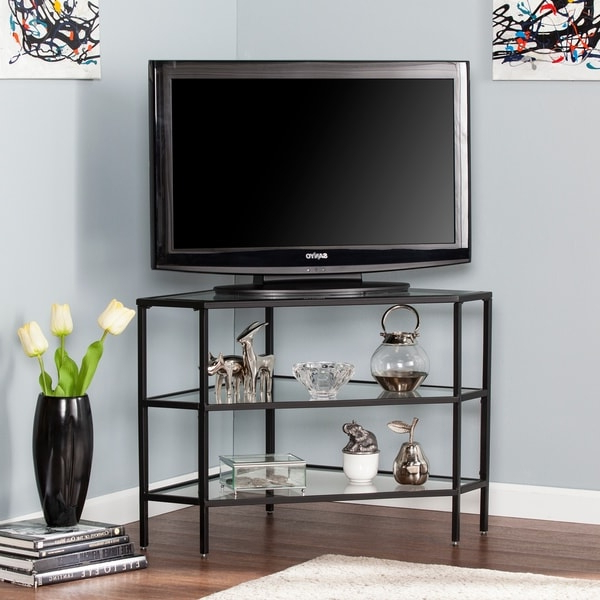 Norman Metal/glass Corner Tv Stand – Black – On Sale Throughout Tabletop Tv Stands Base With Black Metal Tv Mount (View 8 of 20)
