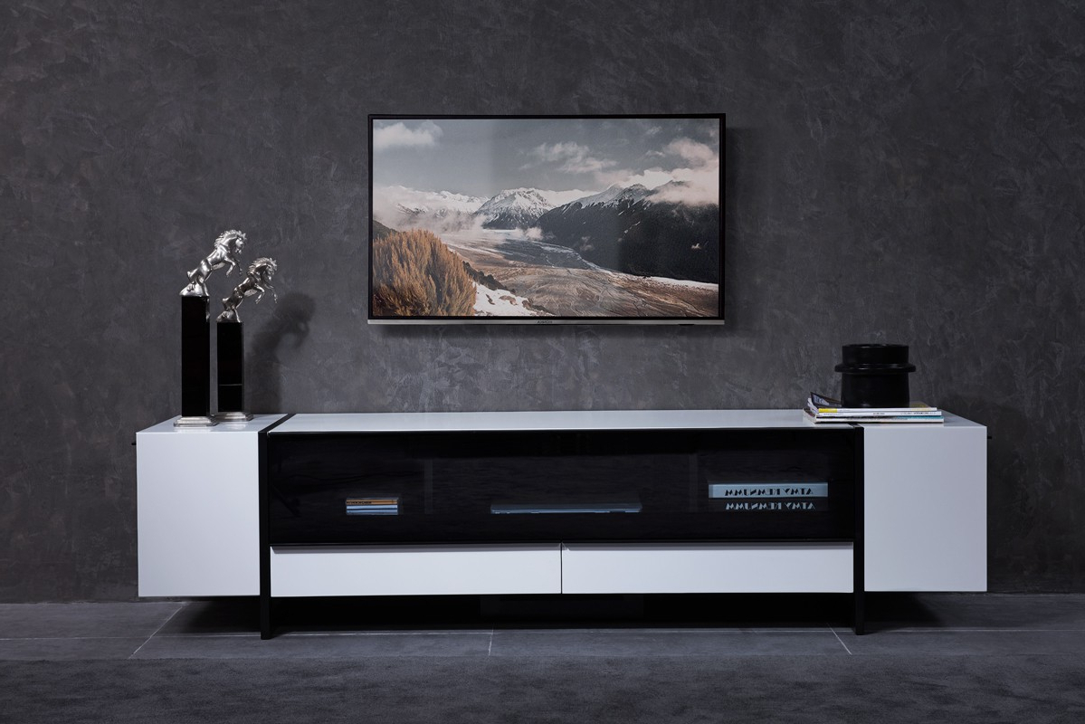 Nova Domus Lorena Modern White & Gun Metal Black Tv Stand Regarding High Glass Modern Entertainment Tv Stands For Living Room Bedroom (View 9 of 20)
