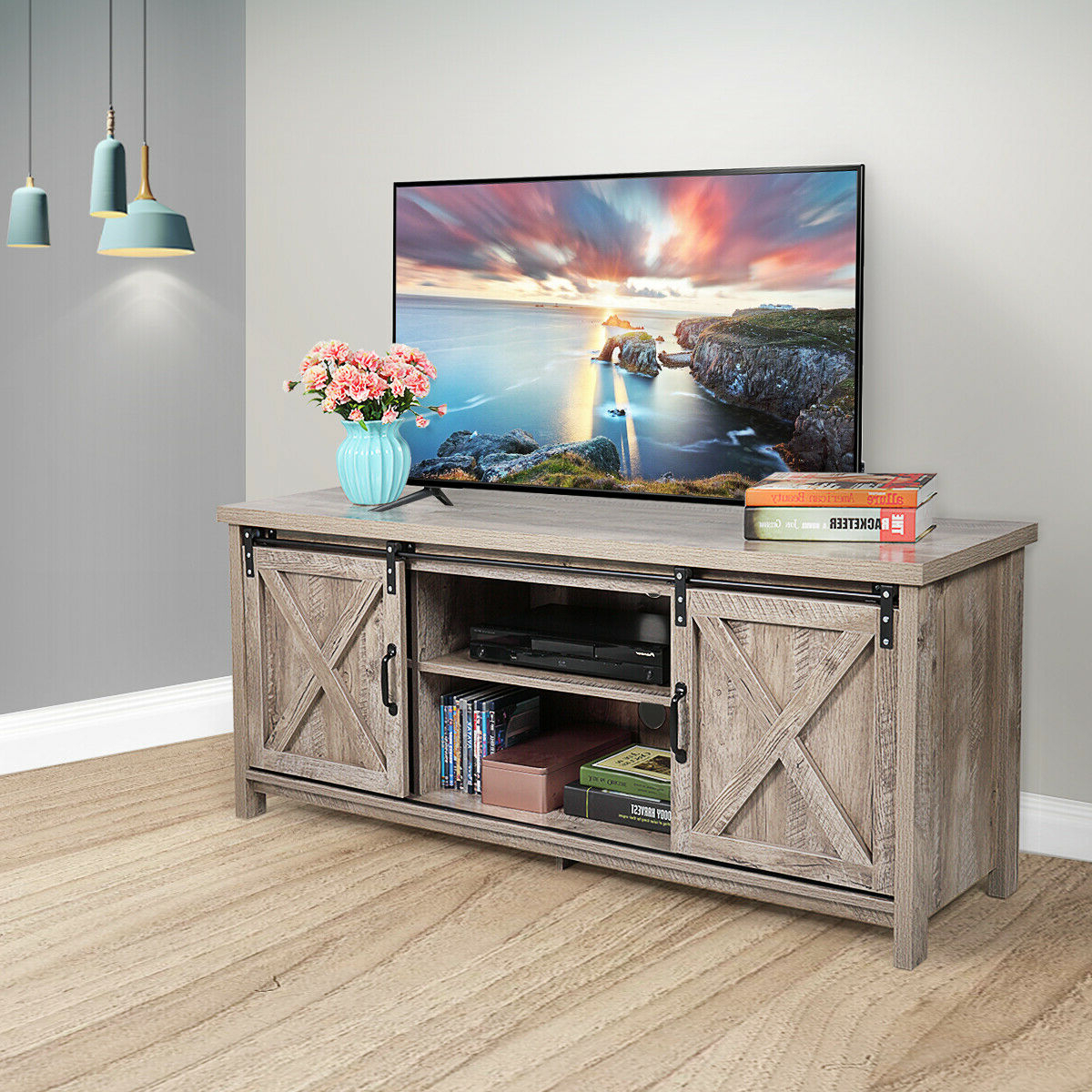 Nufazes Sliding Barn Door Tv Stand,58 Inch Storage Table With Regard To Barn Door Wood Tv Stands (View 2 of 20)