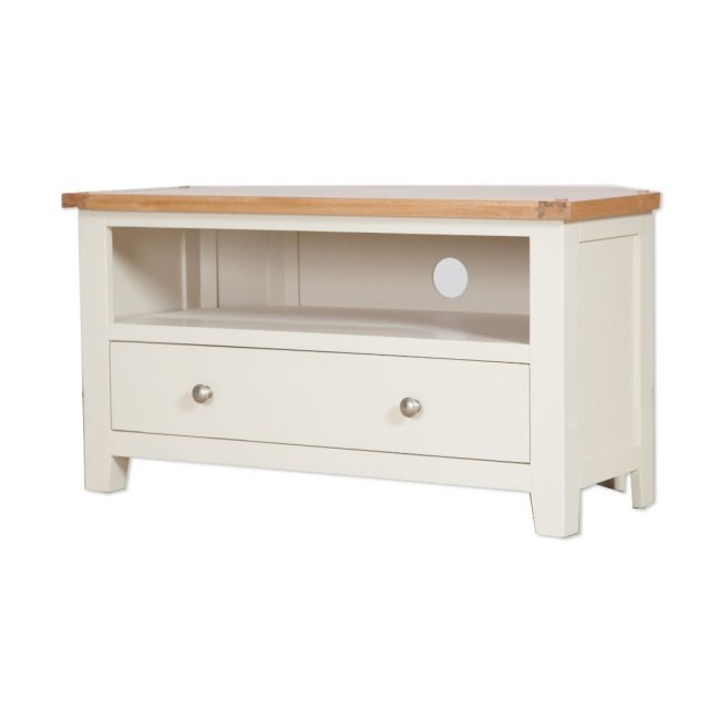 Oak City – Sydney Painted Ivory 102cm Corner Tv Stand Within Compton Ivory Corner Tv Stands (View 8 of 20)