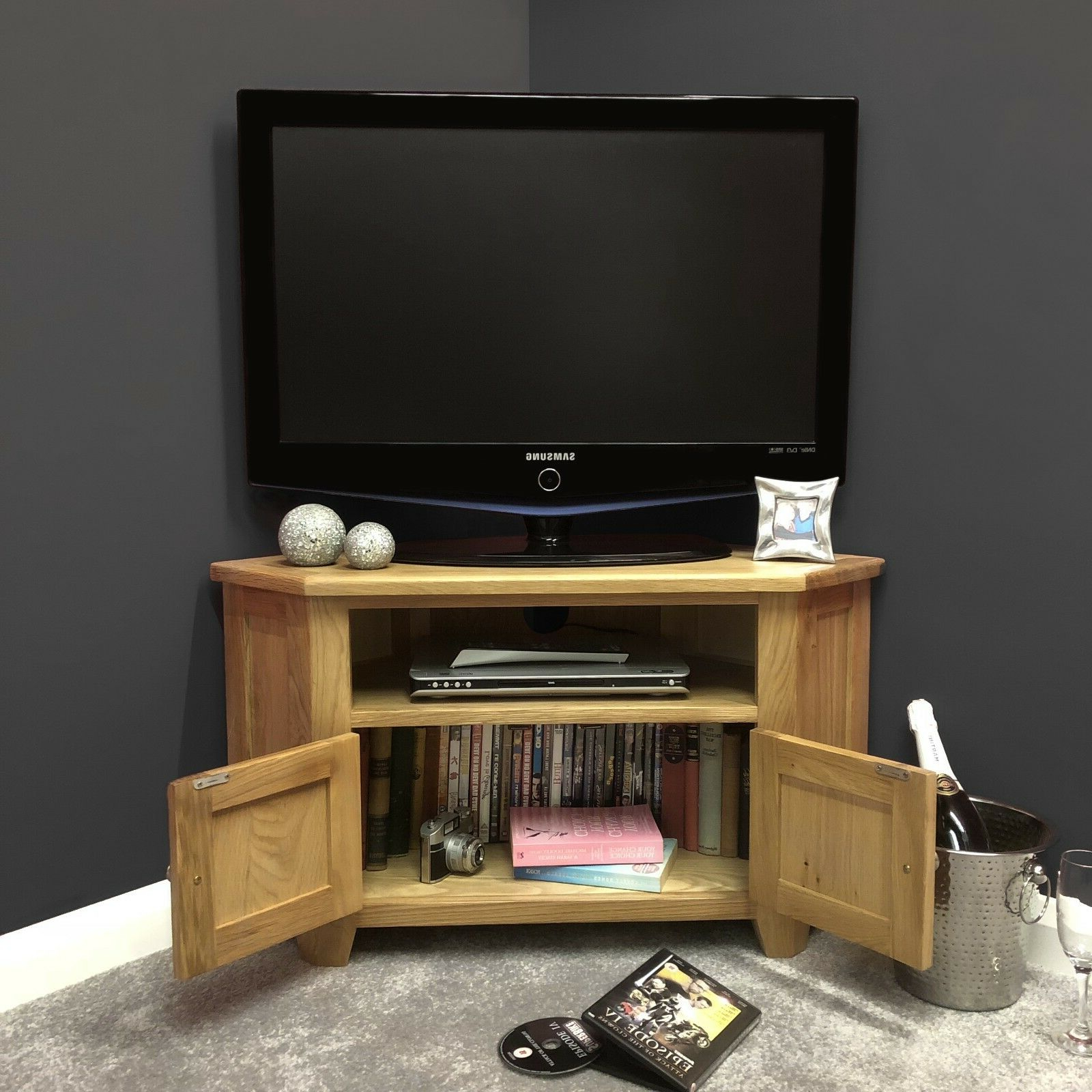 Oak Corner Tv Stand With Doors / Solid Wood Television Pertaining To Sidmouth Oak Corner Tv Stands (View 13 of 20)