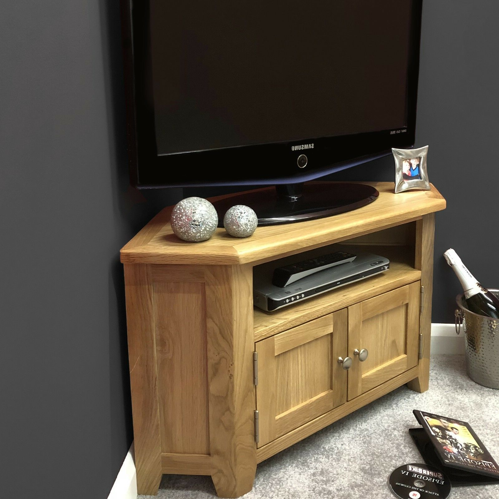 Oak Corner Tv Stand With Doors / Solid Wood Television Throughout Sidmouth Oak Corner Tv Stands (View 6 of 20)