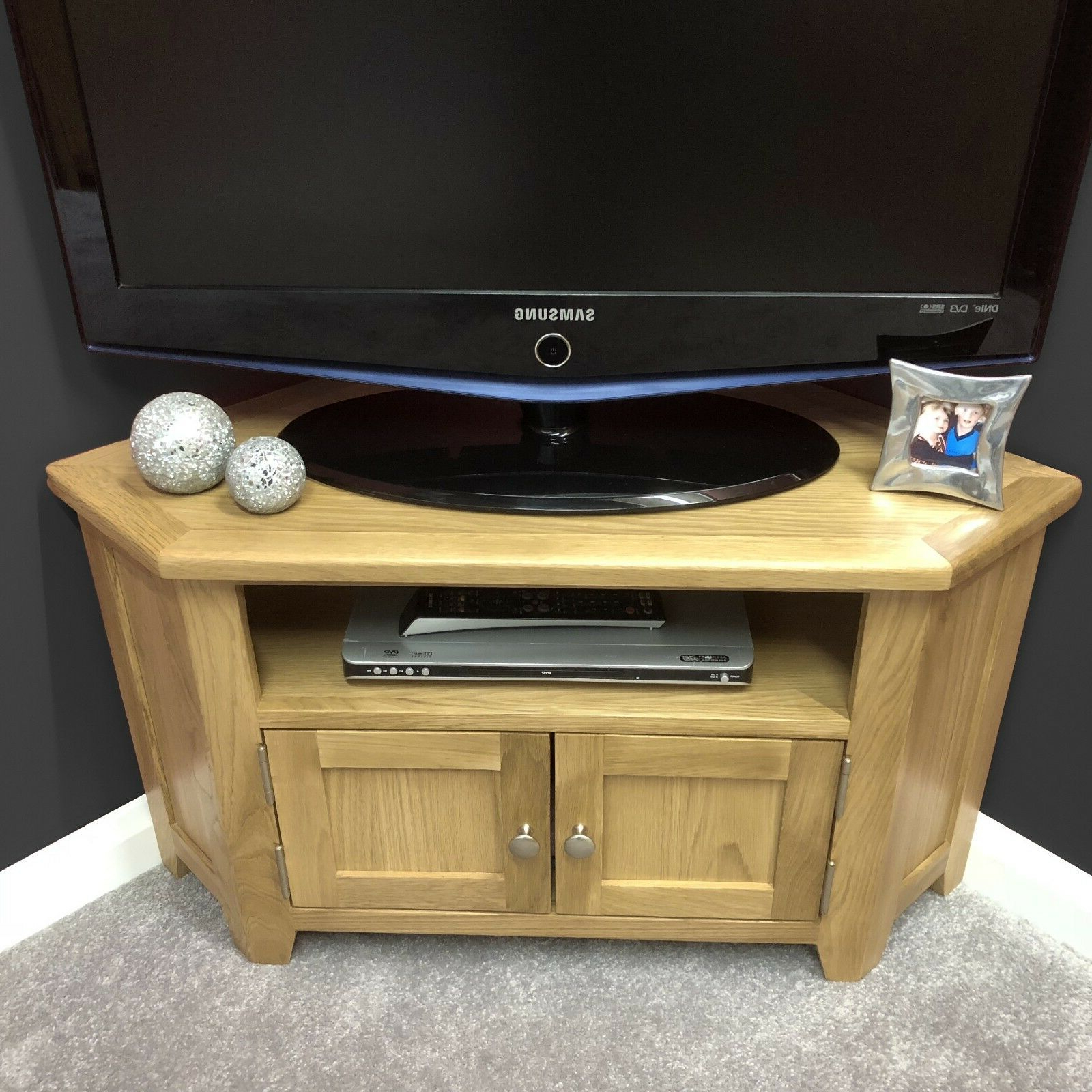 Oak Corner Tv Stand With Doors / Solid Wood Television Throughout Sidmouth Oak Corner Tv Stands (View 5 of 20)