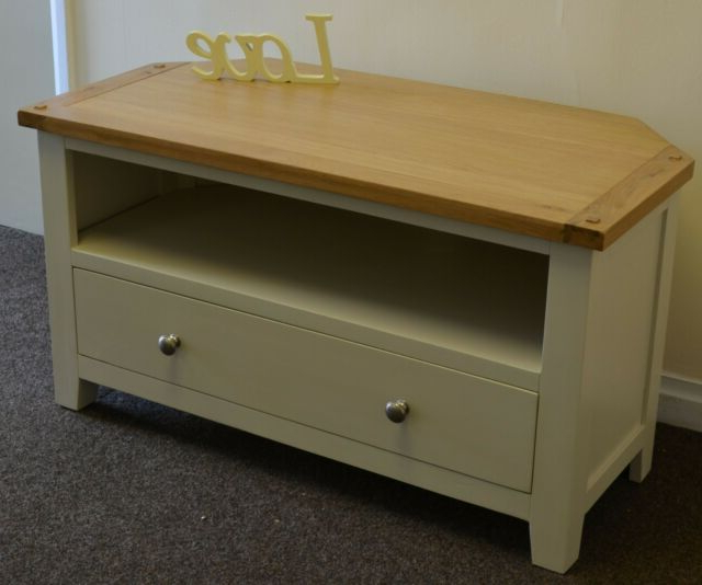 Oak Corner Tv Unit Solid Drawer Cabinet Pine Dorset Intended For Compton Ivory Corner Tv Stands With Baskets (View 1 of 20)