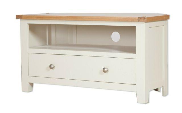 Oak Corner Tv Unit Solid Drawer Cabinet Pine Dorset Regarding Compton Ivory Corner Tv Stands With Baskets (View 13 of 20)