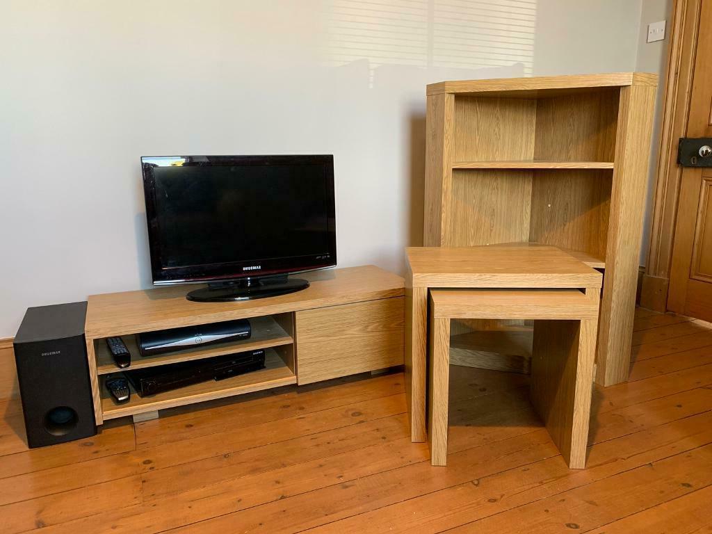 Oak Effect Tv Unit, Corner Shelf Unit & Nest Of Tables For Fulton Oak Effect Corner Tv Stands (View 16 of 20)