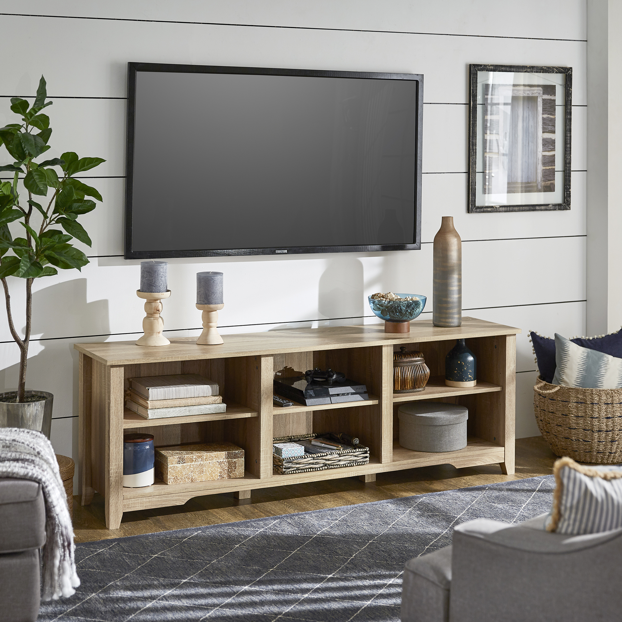 """Oak Finish 70 Inch Tv Stand – Inspire Q Home Pertaining To Kinsella Tv Stands For Tvs Up To 70"""" (View 11 of 20)"""