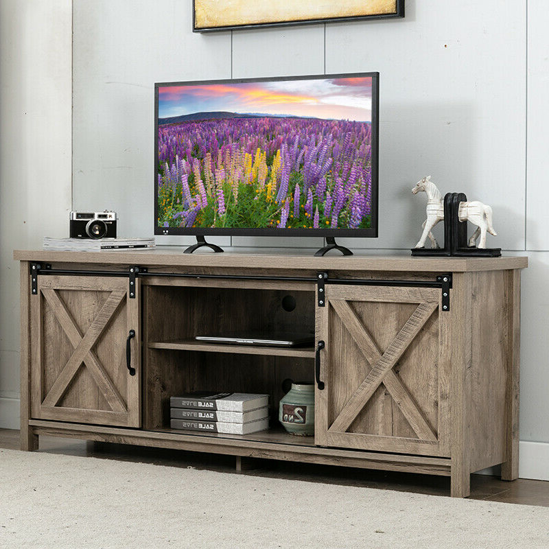 Oak Wood Tv Stand For 65 In Tv Farmhouse Sliding Barn Door Pertaining To Tv Stands With Sliding Barn Door Console In Rustic Oak (View 6 of 20)
