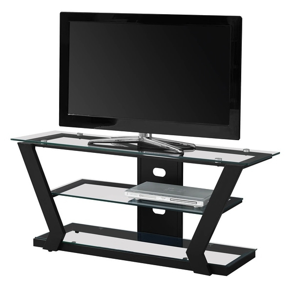 """Offex Contemporary Tv Stand – 48""""l – Black Metal With With Regard To Vasari Corner Flat Panel Tv Stands For Tvs Up To 48"""" Black (View 13 of 20)"""