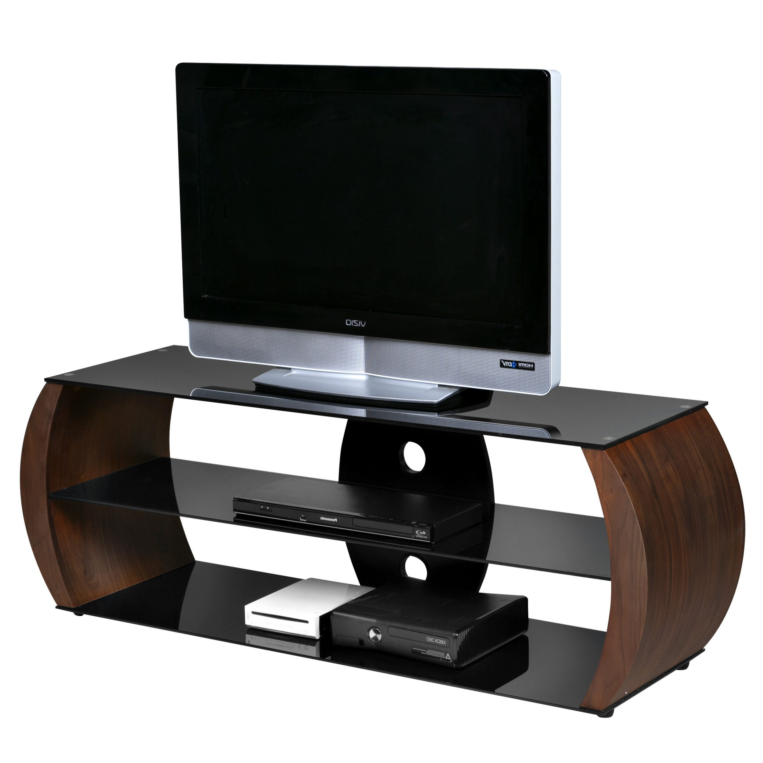 Onespace Oval Walnut Veneer/wood/black Tempered Glass Tv Intended For Rfiver Black Tabletop Tv Stands Glass Base (View 13 of 20)
