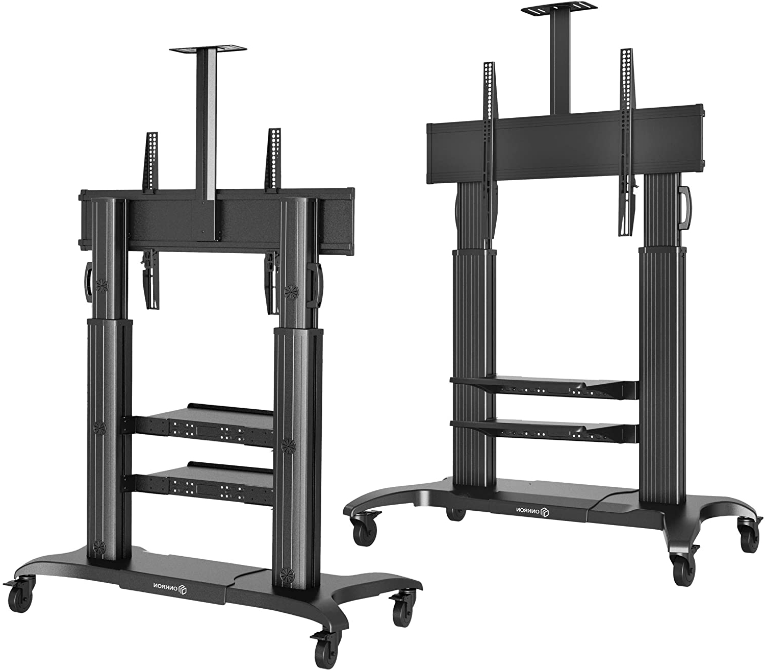"""Onkron Mobile Tv Stand Rolling Tv Cart For 60"""" To 100 Inch In Rolling Tv Cart Mobile Tv Stands With Lockable Wheels (View 11 of 20)"""