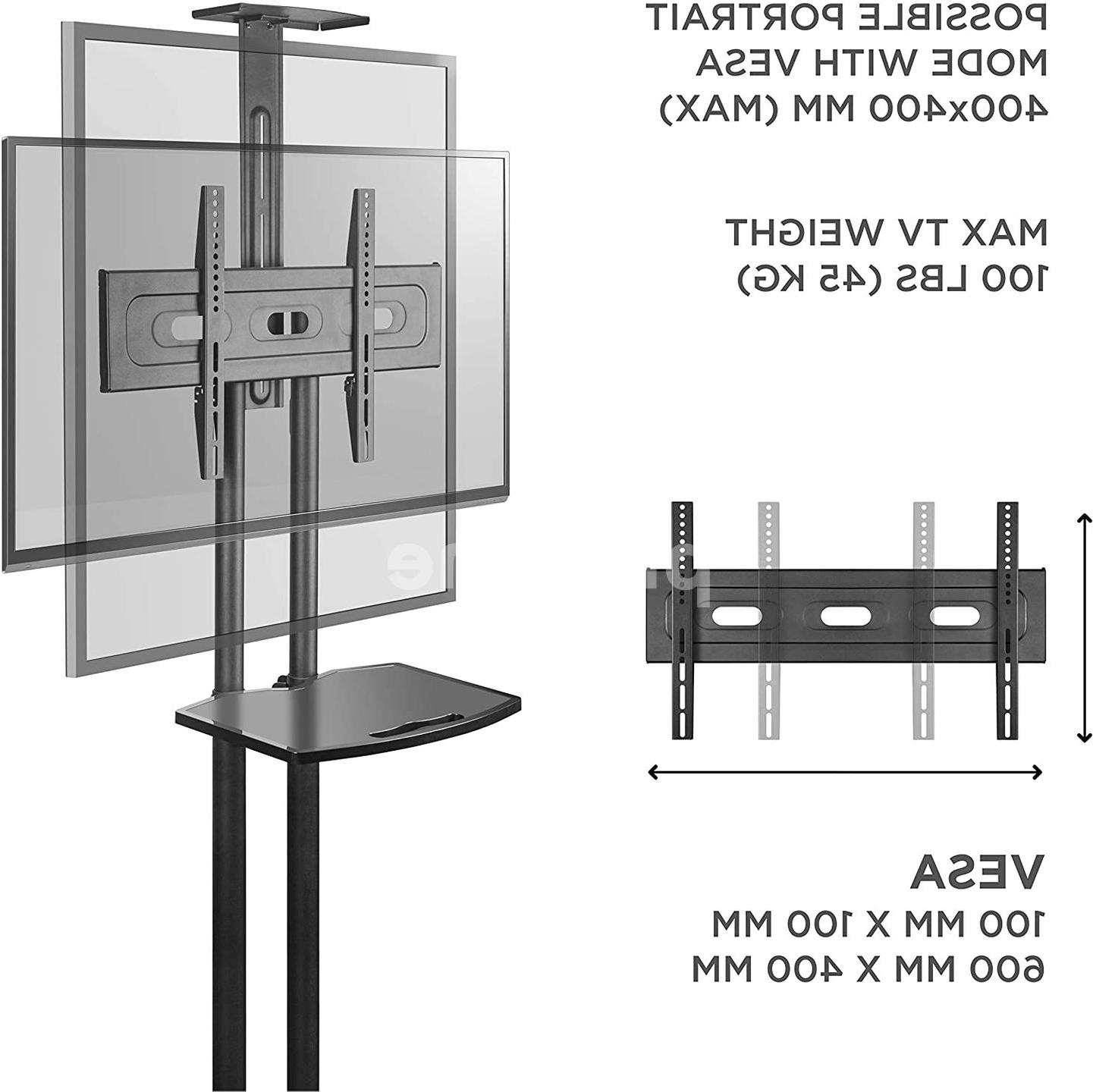 Onkron Mobile Tv Stand With Mount Rolling Tv Cart For 32 Pertaining To Easyfashion Adjustable Rolling Tv Stands For Flat Panel Tvs (View 15 of 20)