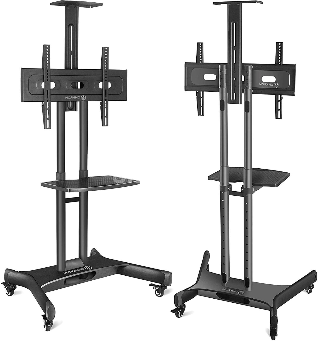 Onkron Mobile Tv Stand With Mount Rolling Tv Cart For 32 Within Easyfashion Adjustable Rolling Tv Stands For Flat Panel Tvs (View 2 of 20)