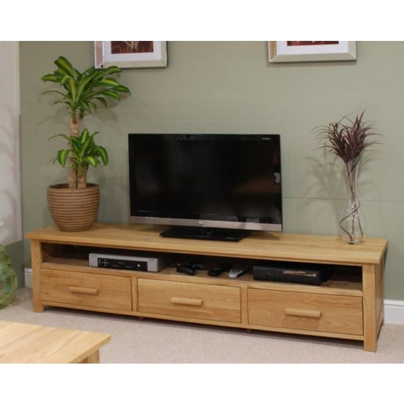 Opus Oak Furniture Wide Plasma Tv Unit For Anya Wide Tv Stands (View 3 of 20)
