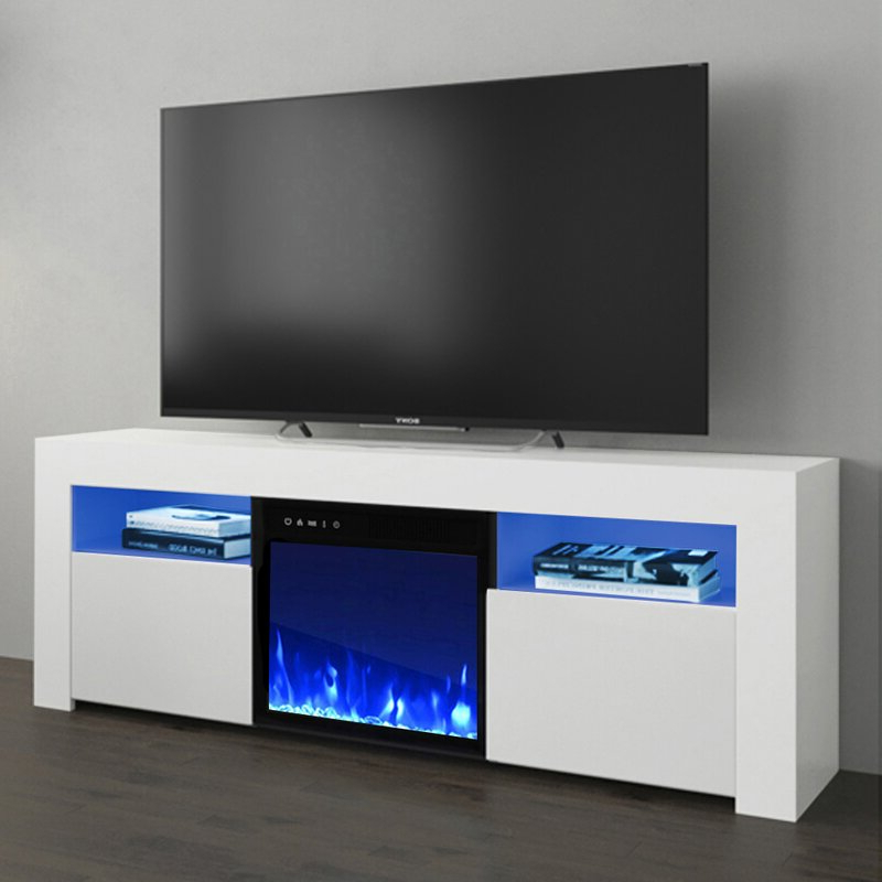 """Orren Ellis Earle Tv Stand For Tvs Up To 65"""" With Electric With Neilsen Tv Stands For Tvs Up To 65"""" (View 14 of 20)"""