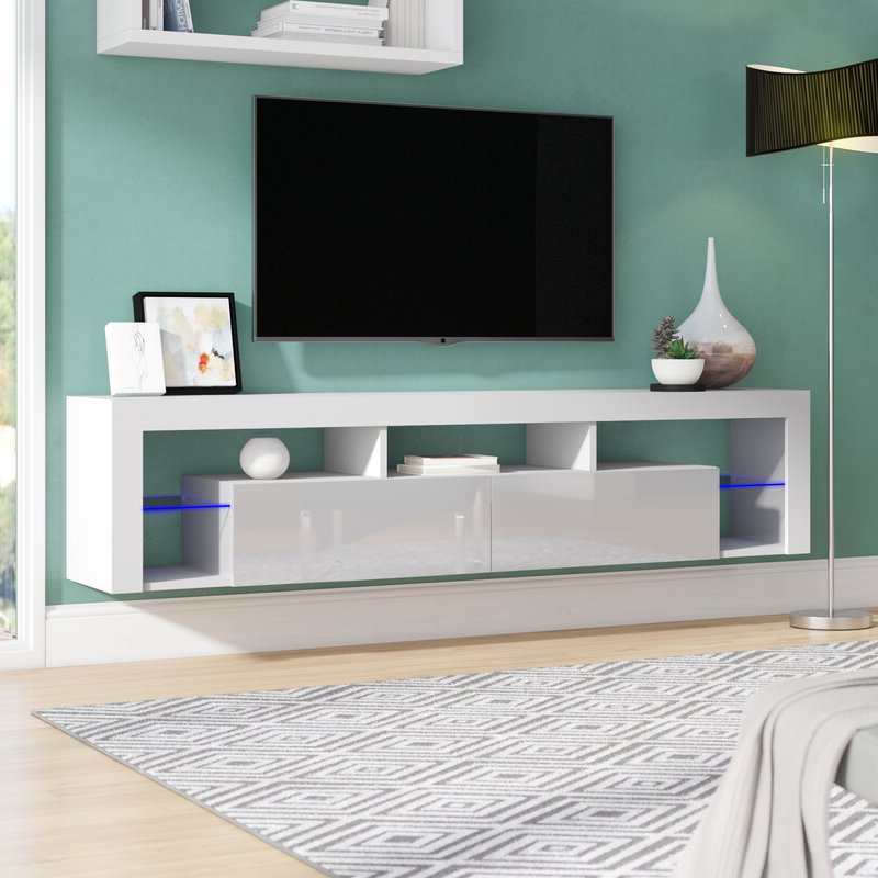 Orren Ellis Floating Milano Floating Tv Stand For Tvs Up Intended For Milano White Tv Stands With Led Lights (View 7 of 20)