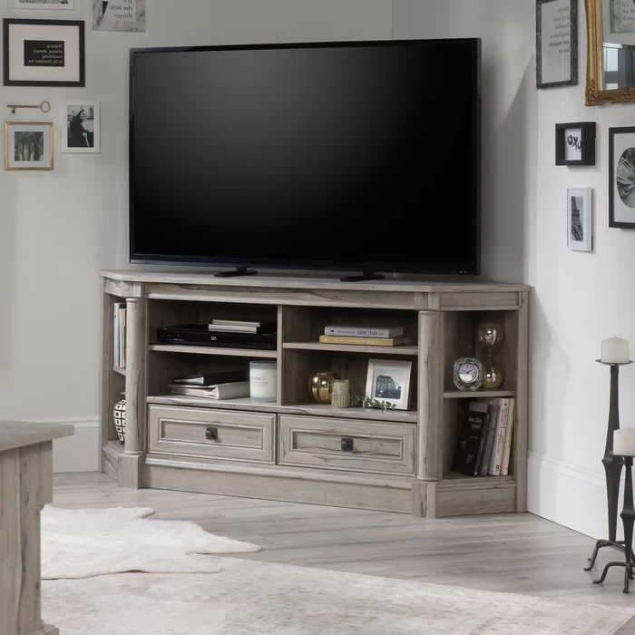 """Orviston Corner Tv Stand For Tvs Up To 60 Inches In 2020 Inside 60"""" Corner Tv Stands Washed Oak (View 14 of 20)"""