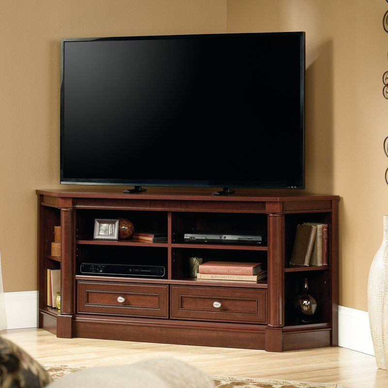 """Orviston Corner Tv Stand For Tvs Up To 60 Inches In 2020 Within 60"""" Corner Tv Stands Washed Oak (View 13 of 20)"""