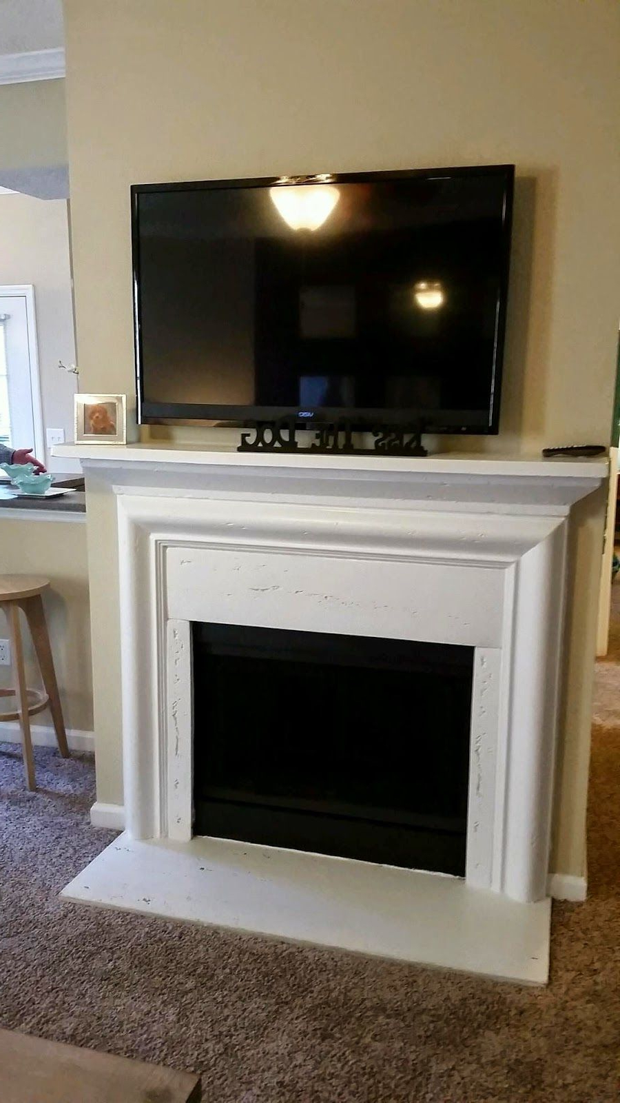 Our 1st Place!! | Fireplace, Mounted Tv, Home Regarding Shelby Corner Tv Stands (View 10 of 20)