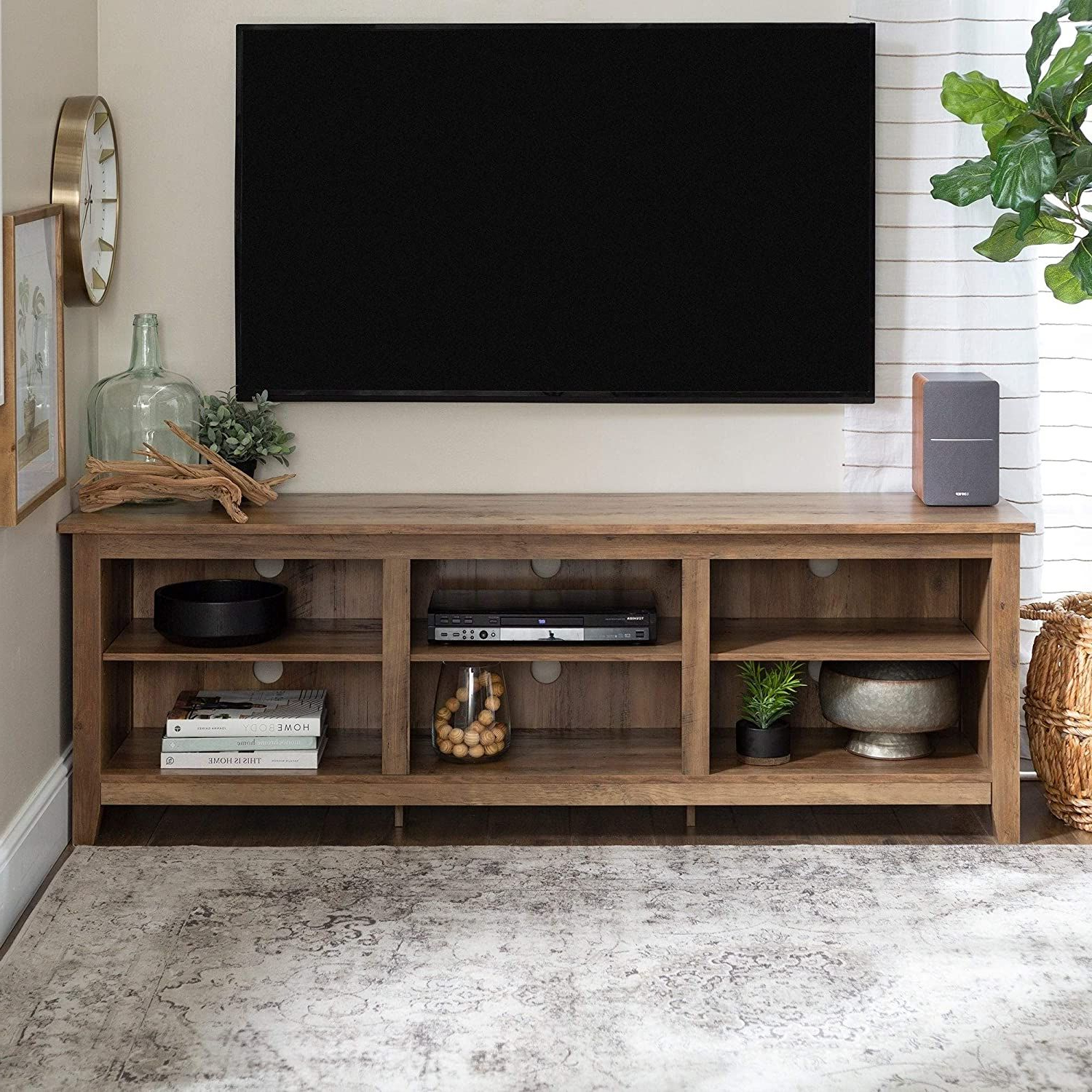 """Overstock 70"""" Tv Stand Console – 70 X 16 X 24h Rustic Oak In Rustic Grey Tv Stand Media Console Stands For Living Room Bedroom (View 3 of 20)"""
