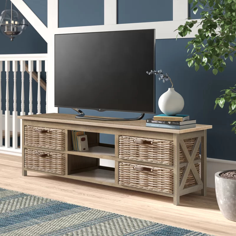Owston Solid Wood Tv Stand For Tvs Up To 65 Inches In 2020 Pertaining To Woven Paths Open Storage Tv Stands With Multiple Finishes (View 11 of 20)