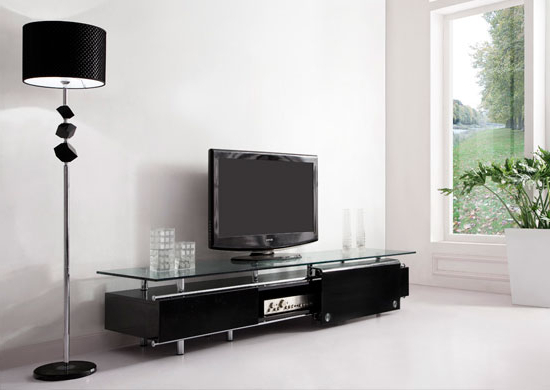 'oxygen'' Ultra Chic, Contemporary Glass Tv Stand Black With Modern Black Floor Glass Tv Stands With Mount (View 15 of 20)