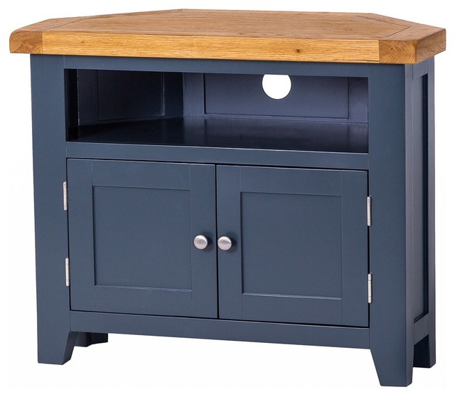 Padstow Painted Oak Corner Tv Unit – Country – Tv Stands Throughout Samira Corner Tv Unit Stands (View 10 of 20)
