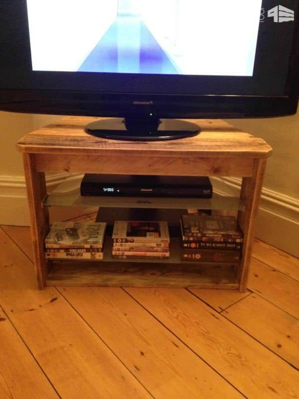 Pallet Tv Stand With Glass Shelves • 1001 Pallets Within Glass Shelf With Tv Stands (View 18 of 20)