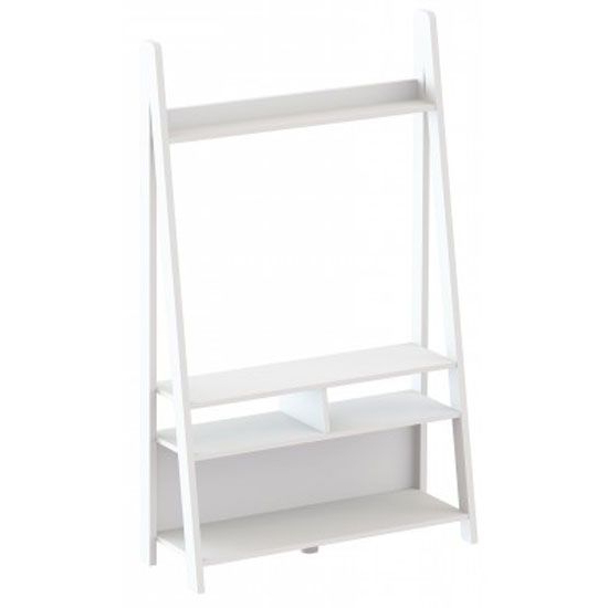 Paltrow Entertainment Unit In White With Ladder Style For Tiva White Ladder Tv Stands (View 10 of 20)