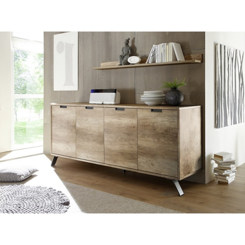 Parma Retro Canyon Oak 4 Door Sideboard – Sideboards (3110 With Regard To Canyon Oak Tv Stands (View 15 of 20)