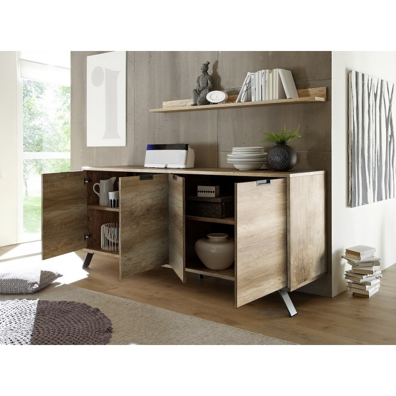 Parma Retro Canyon Oak 4 Door Sideboard – Sideboards (3110 With Regard To Canyon Oak Tv Stands (View 5 of 20)
