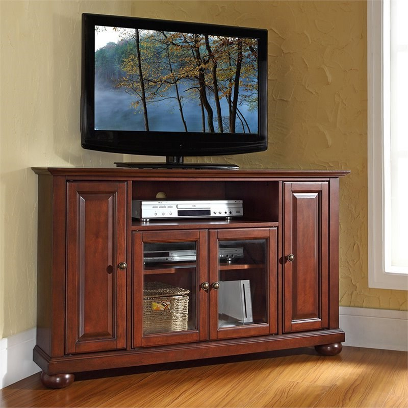 """Pemberly Row 48"""" Corner Tv Stand In Vintage Mahogany – Pr For Corner Tv Stands For Tvs Up To 48"""" Mahogany (View 4 of 20)"""