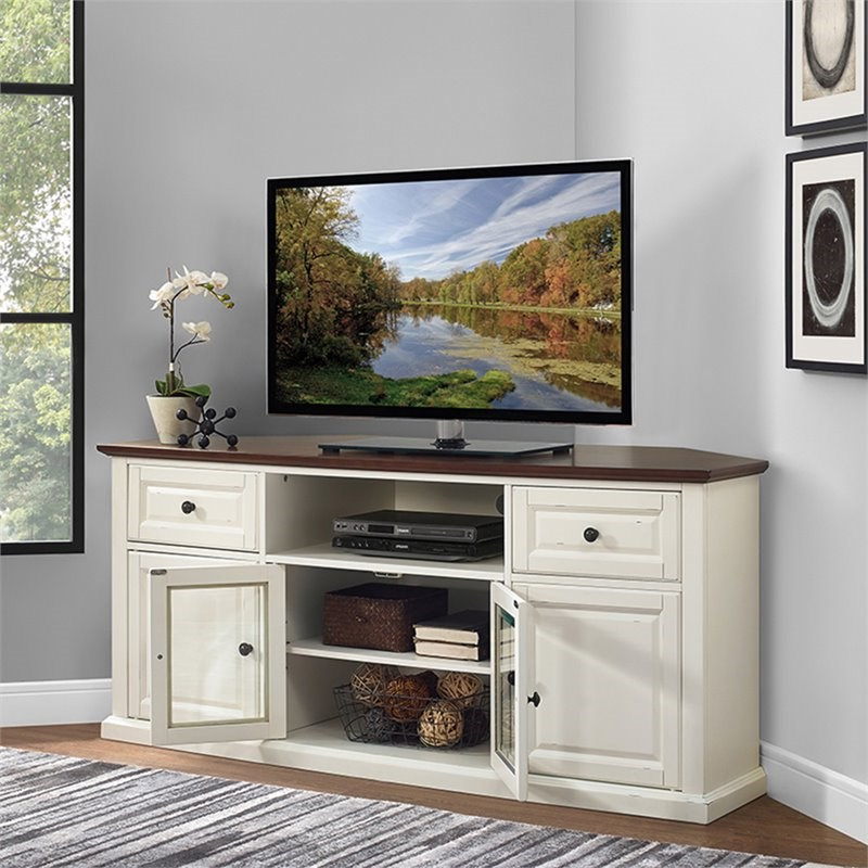 """Pemberly Row 60"""" Corner Tv Stand In White And Mahogany With Regard To Hex Corner Tv Stands (View 1 of 20)"""
