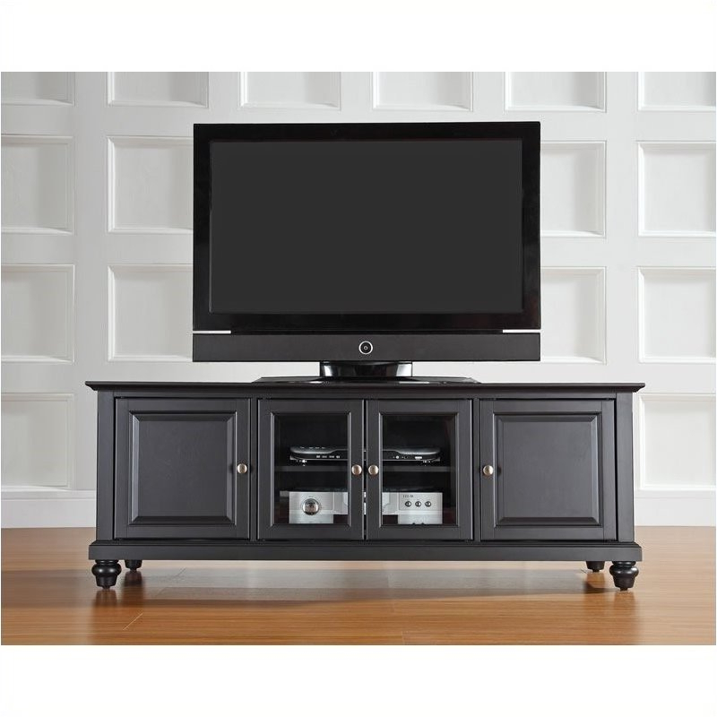 """Pemberly Row 60"""" Low Profile Tv Stand In Black – Walmart Within Edgeware Black Tv Stands (View 6 of 20)"""