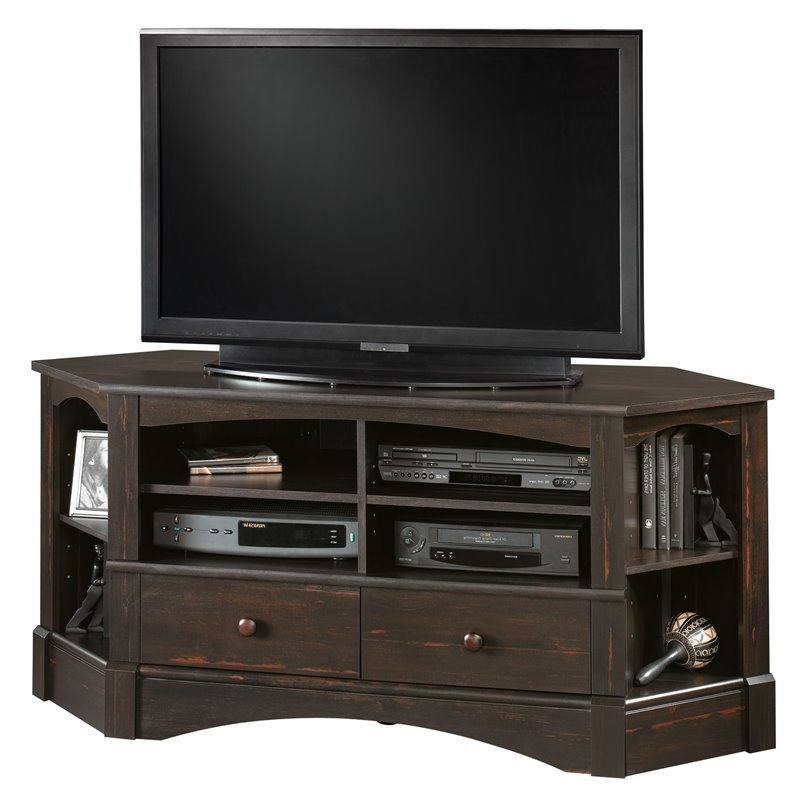 Pemberly Row Corner Tv Stand In Antiqued Black – Pr 368179 In Hex Corner Tv Stands (View 9 of 20)