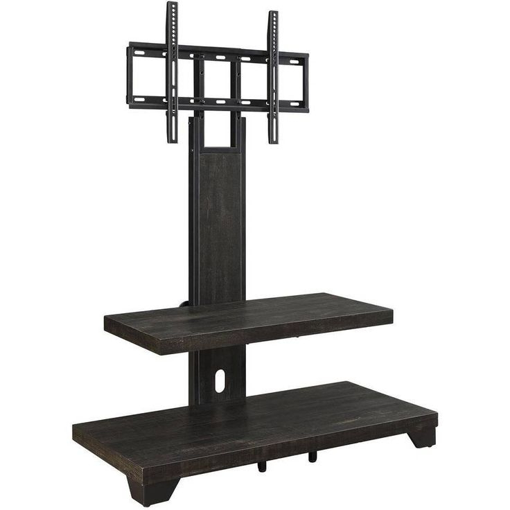 Pinfelipe On Tv Stand Decor In 2021   Contemporary Tv In Whalen Shelf Tv Stands With Floater Mount In Weathered Dark Pine Finish (View 8 of 20)