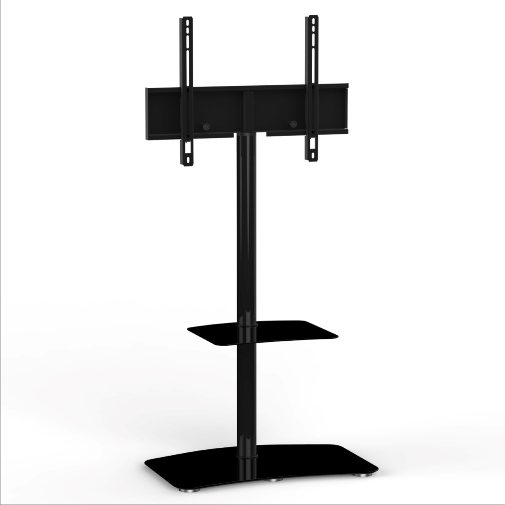 """Pl 2810 For Tv's Up To 55""""   Modern Swivel, Tv Floor Stand Within Floor Tv Stands With Swivel Mount And Tempered Glass Shelves For Storage (View 3 of 20)"""