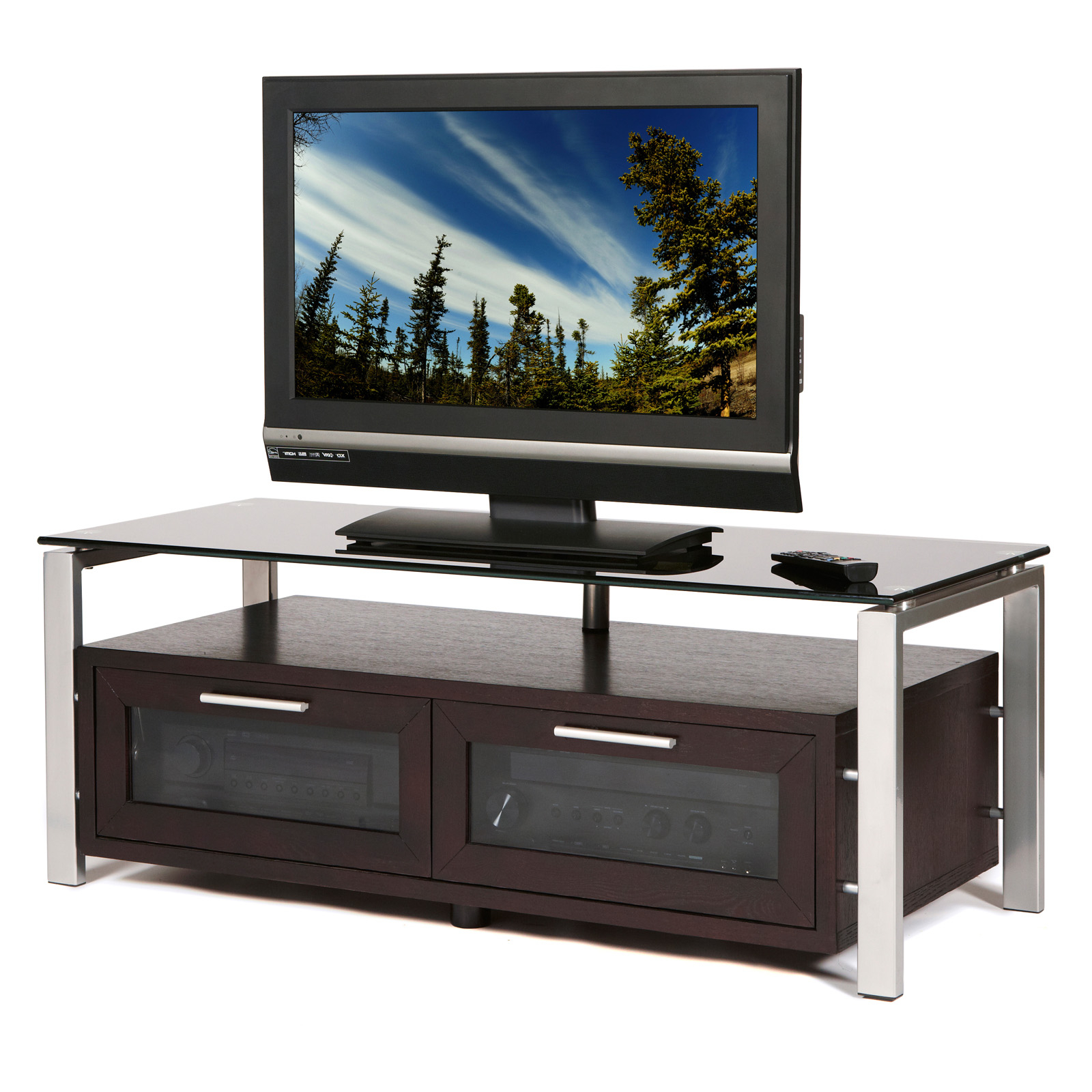Plateau Decor 50 Inch Tv Stand In Espresso/black And With Regard To Tv Stands Fwith Tv Mount Silver/black (View 2 of 20)