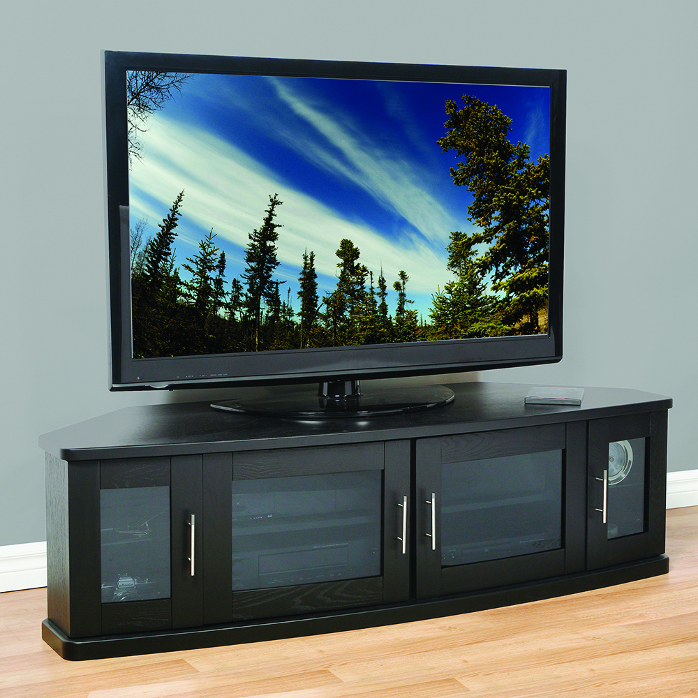 """Plateau Newport62b Corner Tv Stand Up To 70"""" Tvs In Black Pertaining To Lorraine Tv Stands For Tvs Up To 70"""" (View 6 of 20)"""