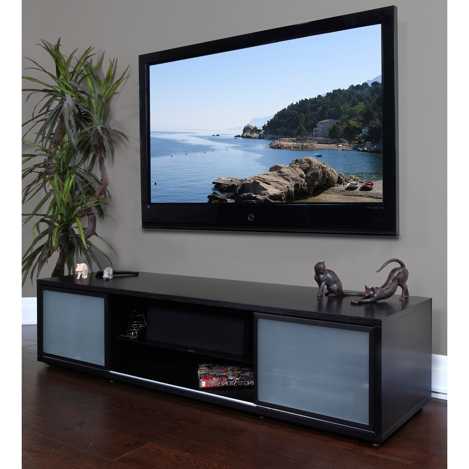 Plateau Srv Series 75 Inch Tv Stand In Black – Do Not Use Throughout Orsen Wide Tv Stands (View 2 of 20)