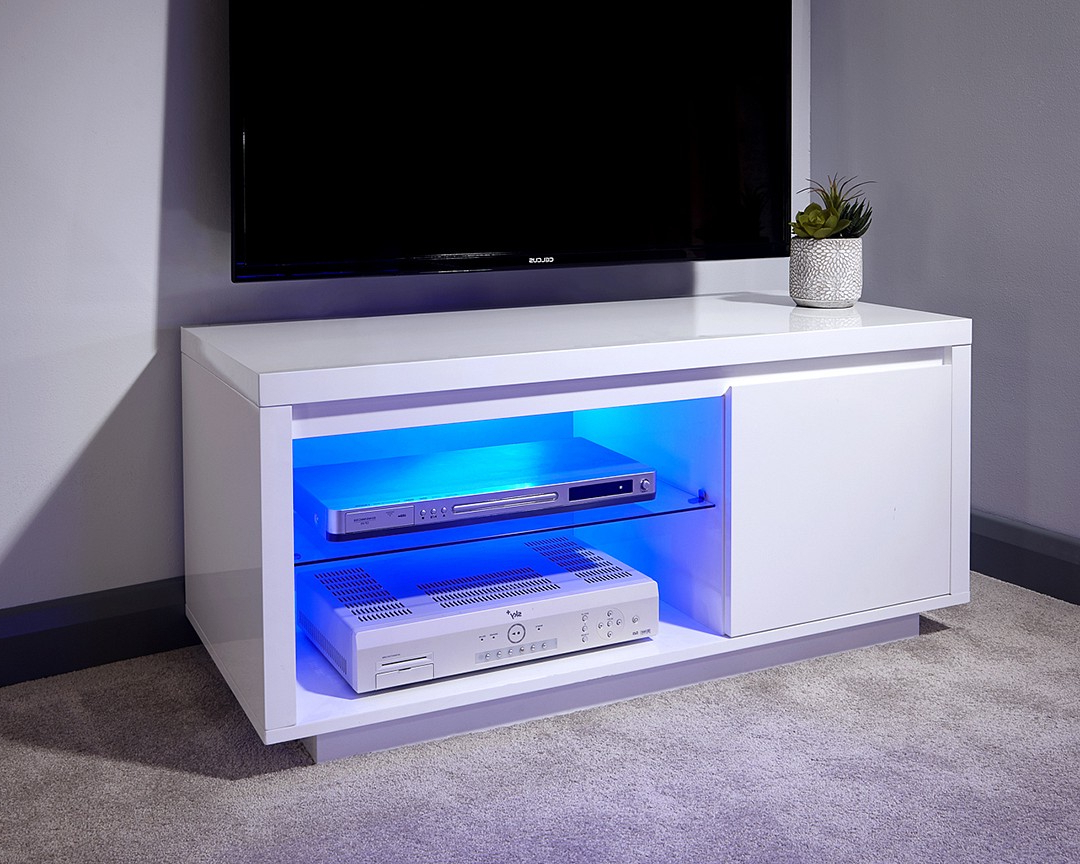 Polar Gloss White Led Tv Stand – One Stop Furniture Online Inside 57'' Led Tv Stands Cabinet (View 10 of 20)