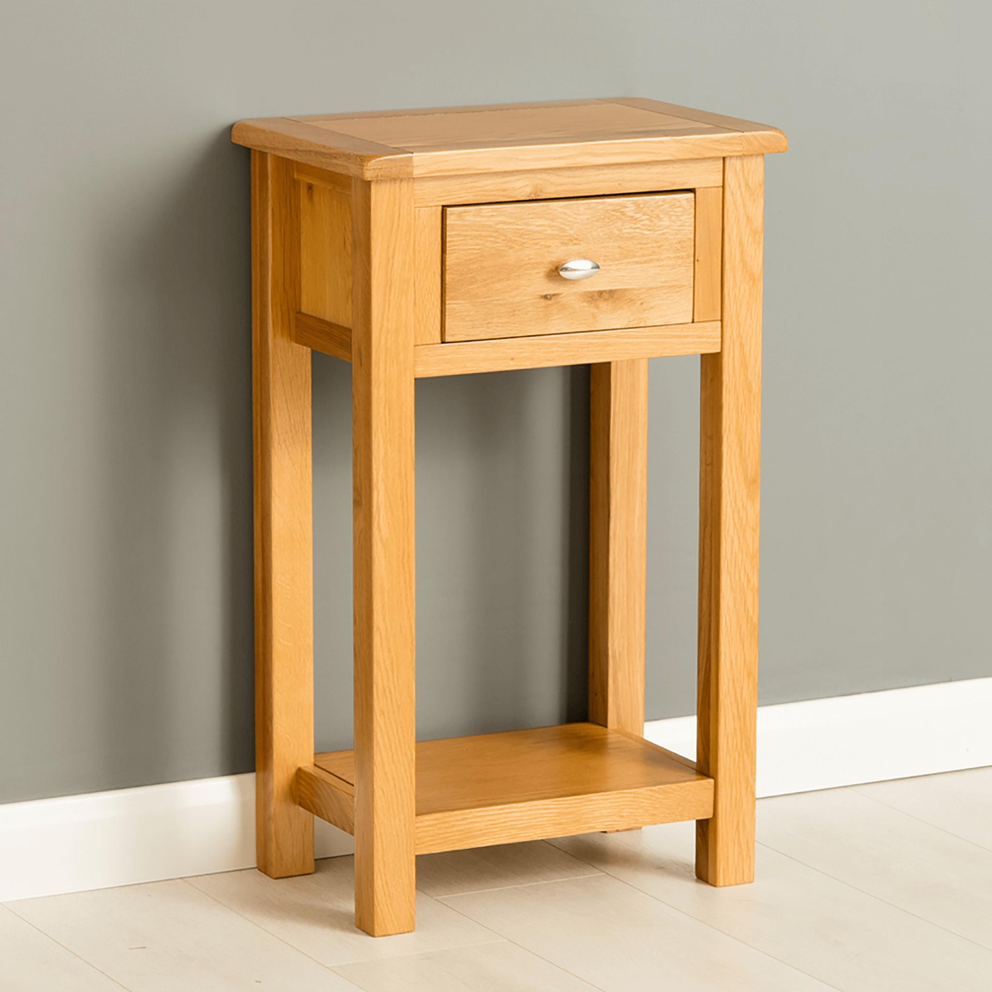 Poldark Oak Telephone Table | 24 Furniture Store : Great Inside Sherbourne Oak Corner Tv Stands (View 15 of 20)