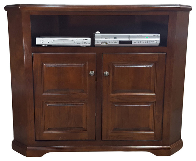 Poplar Tall Corner Tv Stand – Traditional – Entertainment Within Tasi Traditional Windowpane Corner Tv Stands (View 16 of 20)