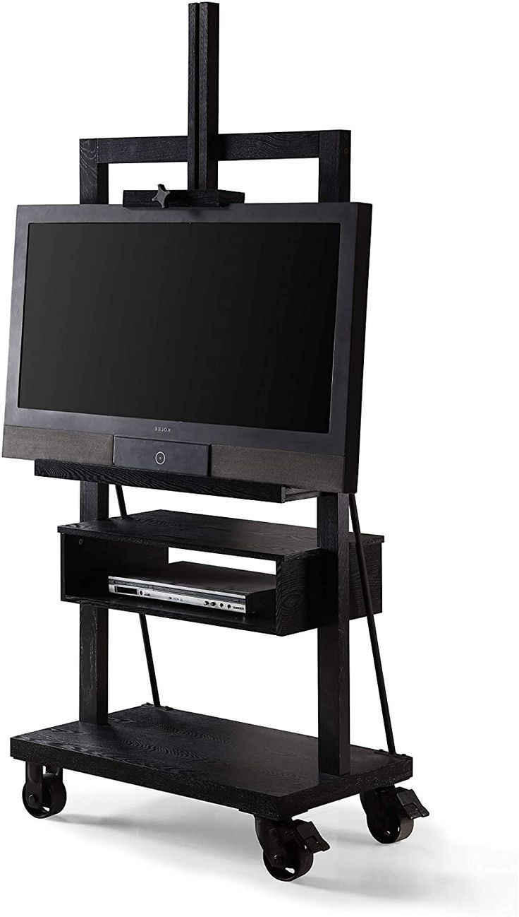 Posh Black 3 Tier Tv Stand For Flat Panel Television Wood Within Tier Entertainment Tv Stands In Black (View 4 of 20)