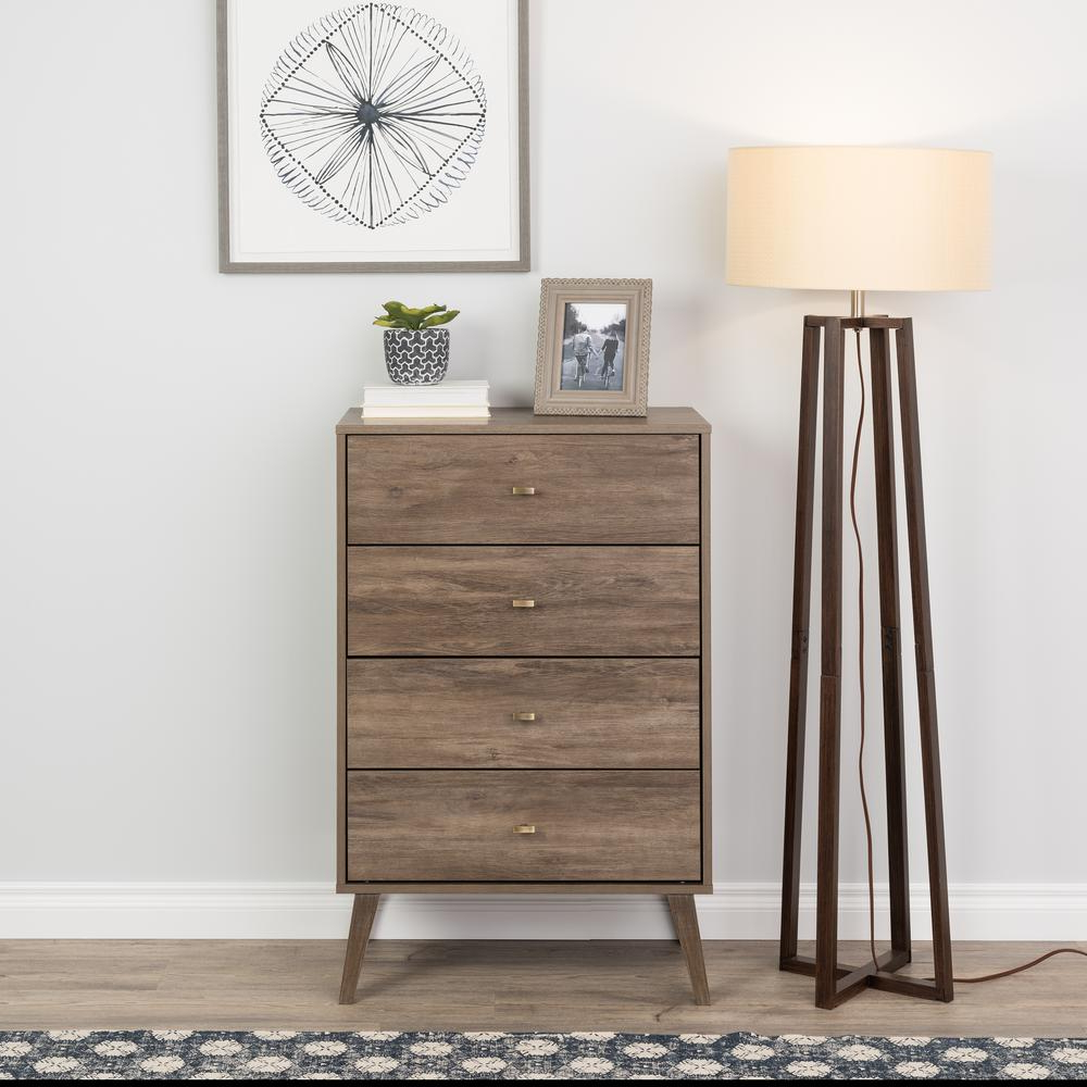 """Prepac 4 Drawer Drifted Gray Milo Mid Century Modern Chest Pertaining To Prepac Milo Mid Century Modern 56"""" Tv Console Stands (View 11 of 20)"""