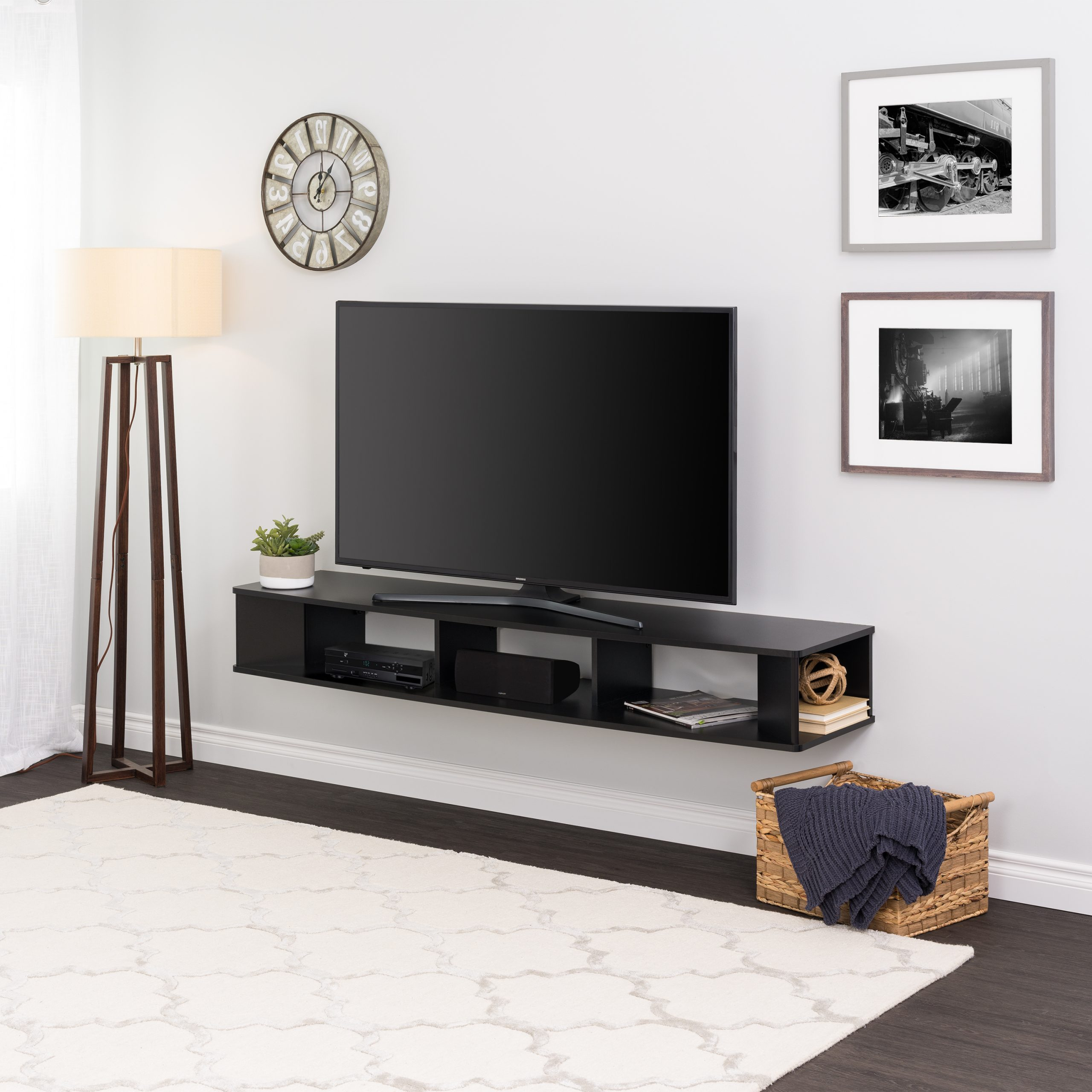 Prepac 70 Inch Wide Wall Mounted Tv Stand, Black – Walmart With Regard To Anya Wide Tv Stands (View 1 of 20)