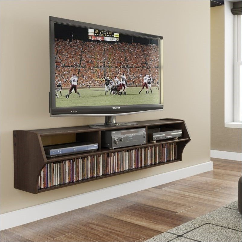 """Prepac Altus Plus 58"""" Floating Tv Stand In Espresso – Ecaw For Casey May Tv Stands For Tvs Up To 70"""" (View 10 of 20)"""